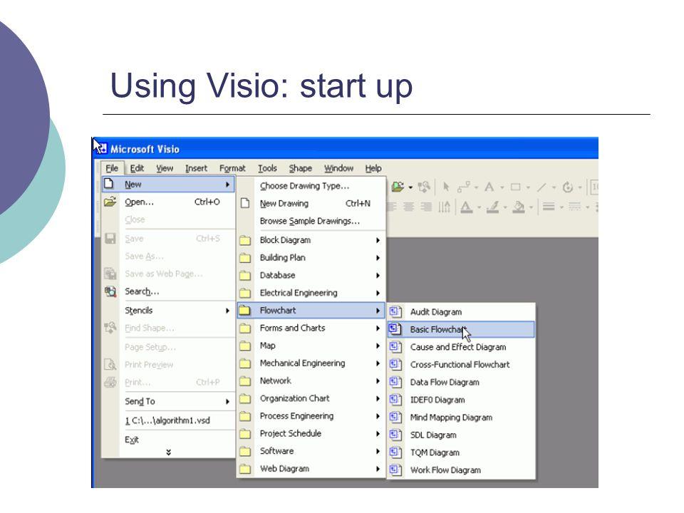 Using Visio: start up