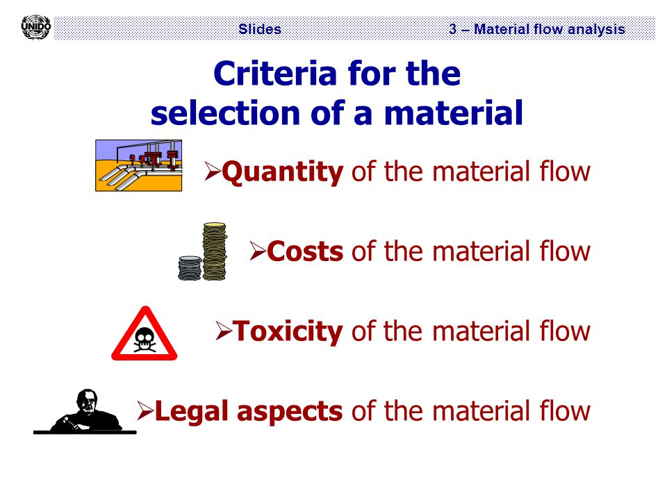 Slides 3 – Material flow analysis Criteria for the selection of a material  Quantity of the material flow  Costs of the material flow  Toxicity of