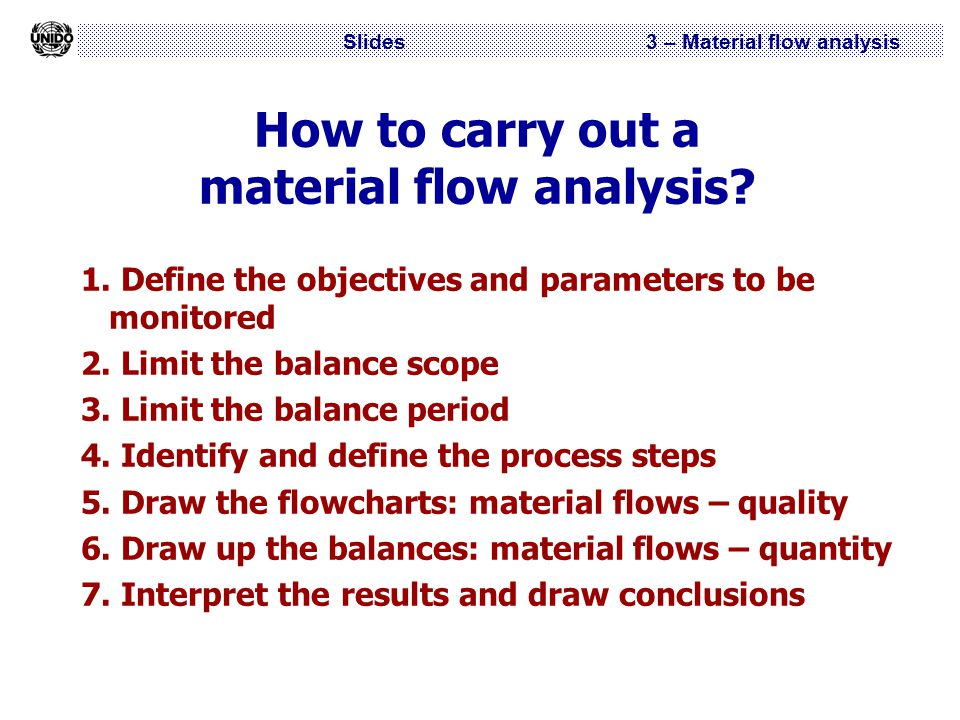 Slides 3 – Material flow analysis How to carry out a material flow analysis? 1. Define the objectives and parameters to be monitored 2. Limit the bala