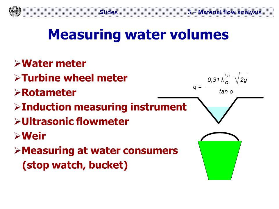 Slides 3 – Material flow analysis Measuring water volumes  Water meter  Turbine wheel meter  Rotameter  Induction measuring instrument  Ultrasoni