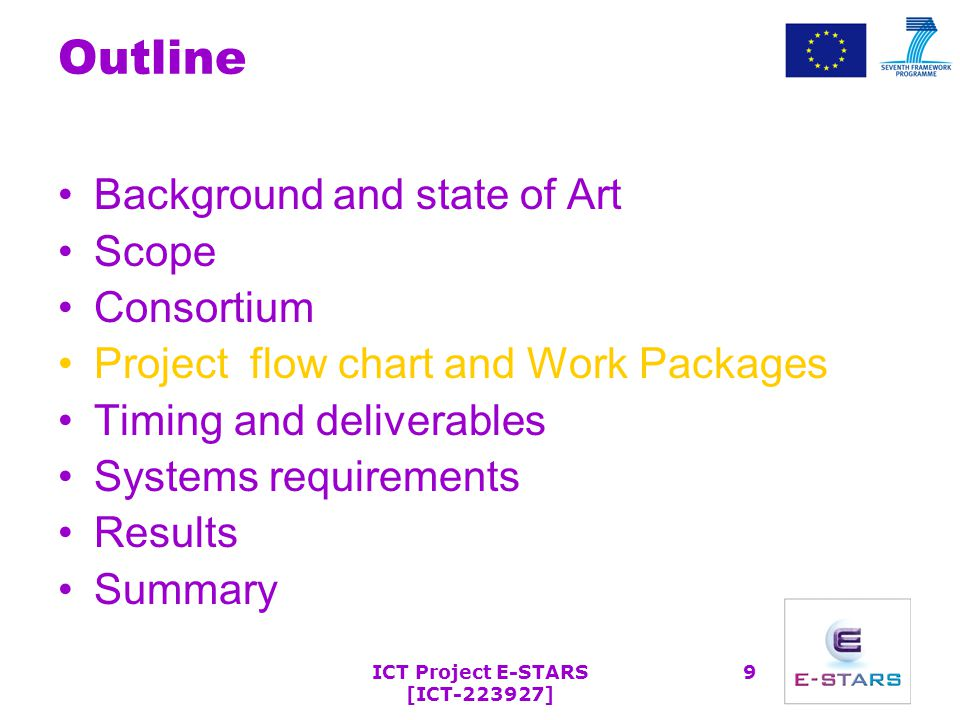 ICT Project E-STARS [ICT-223927] 9 Outline Background and state of Art Scope Consortium Project flow chart and Work Packages Timing and deliverables Systems requirements Results Summary