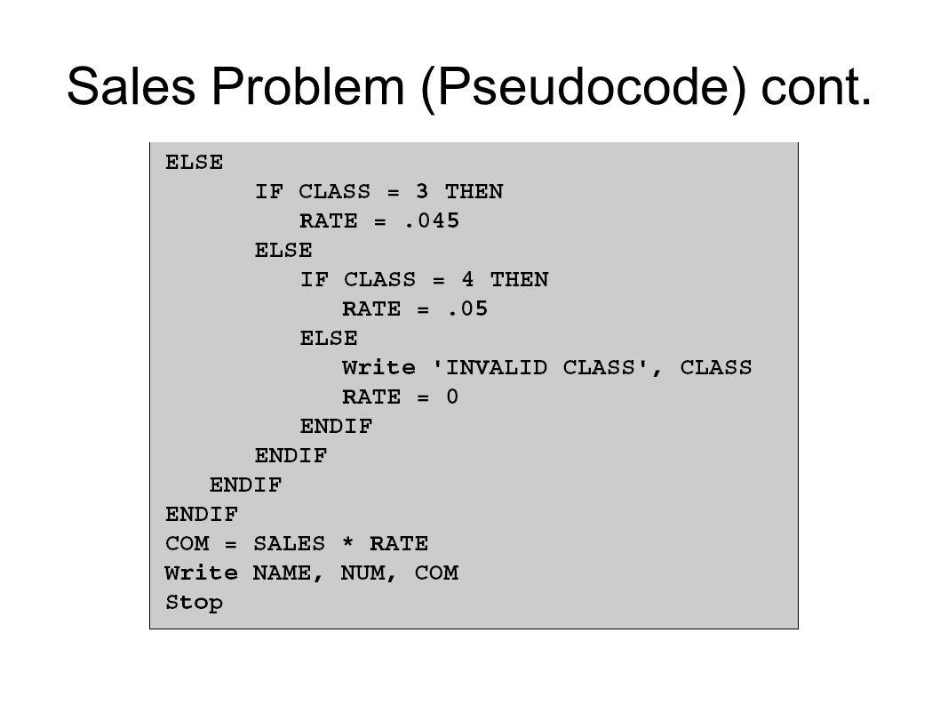Sales Problem (Pseudocode) cont.