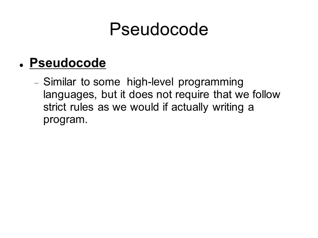 Pseudocode—Introduction