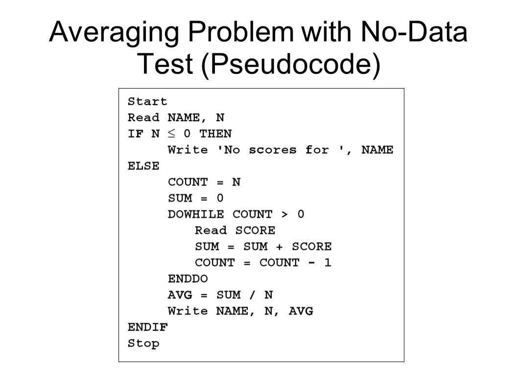Averaging Problem with No-Data Test (Pseudocode)‏