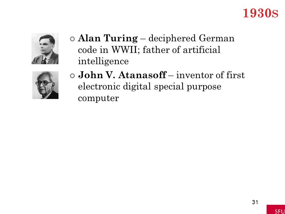 1930 S Alan Turing – deciphered German code in WWII; father of artificial intelligence John V. Atanasoff – inventor of first electronic digital specia