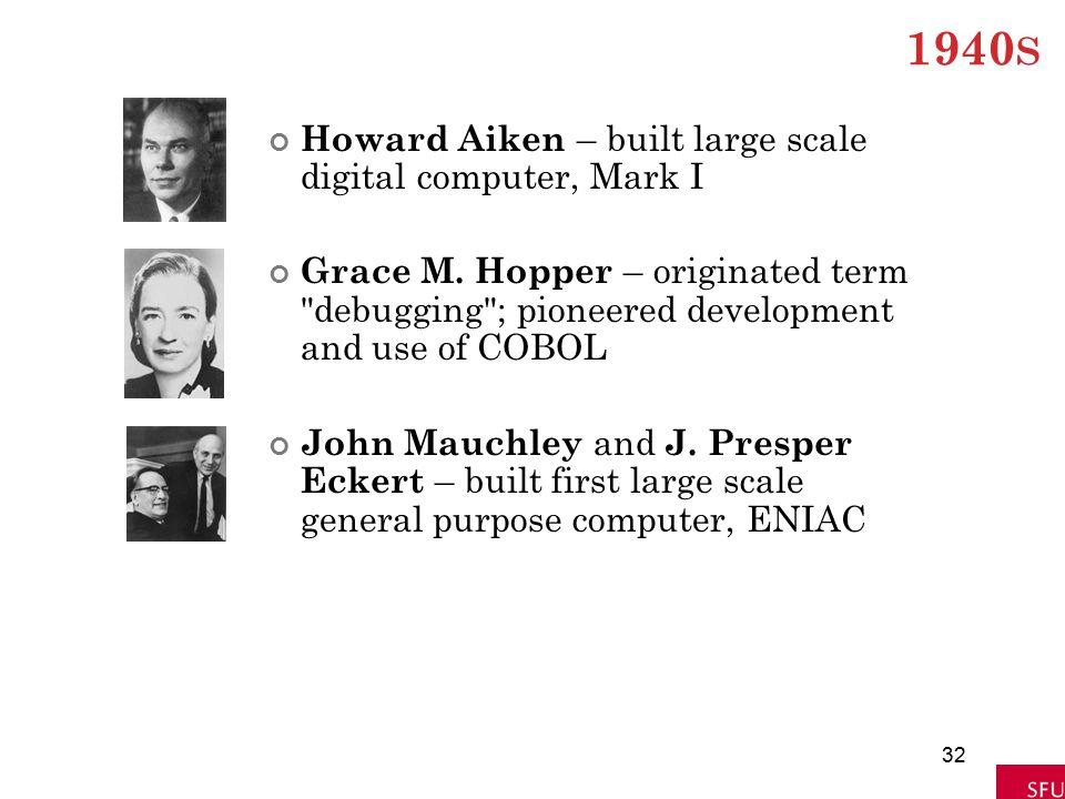 1940 S Howard Aiken – built large scale digital computer, Mark I Grace M. Hopper – originated term
