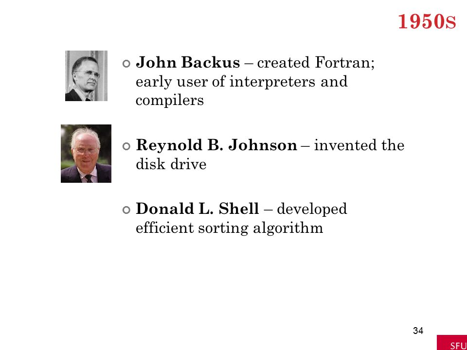 1950 S John Backus – created Fortran; early user of interpreters and compilers Reynold B. Johnson – invented the disk drive Donald L. Shell – develope