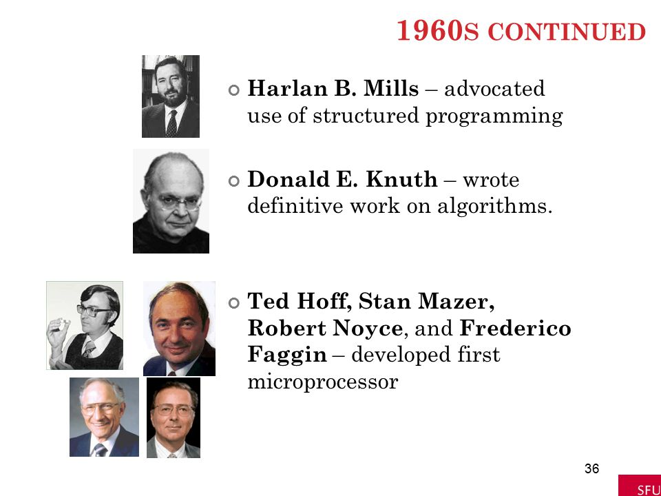 1960 S CONTINUED Harlan B. Mills – advocated use of structured programming Donald E. Knuth – wrote definitive work on algorithms. Ted Hoff, Stan Mazer