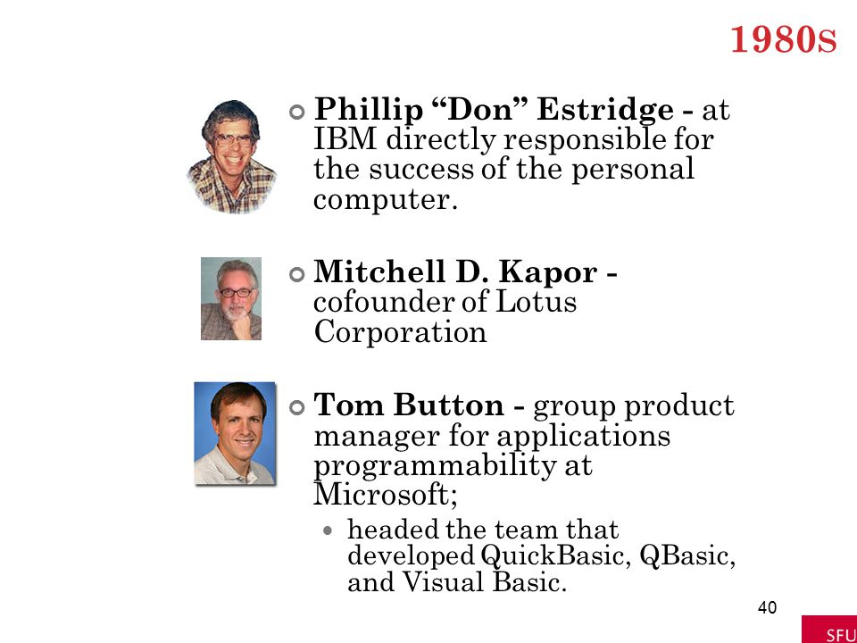 """1980 S Phillip """"Don"""" Estridge - at IBM directly responsible for the success of the personal computer. Mitchell D. Kapor - cofounder of Lotus Corporati"""