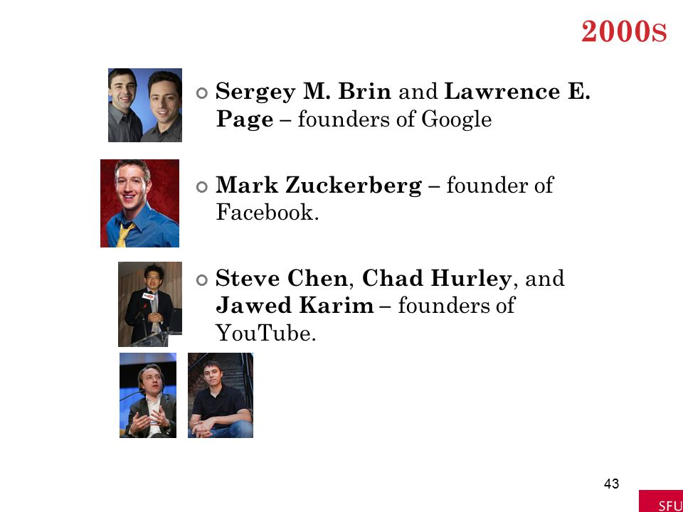 2000 S Sergey M. Brin and Lawrence E. Page – founders of Google Mark Zuckerberg – founder of Facebook. Steve Chen, Chad Hurley, and Jawed Karim – foun