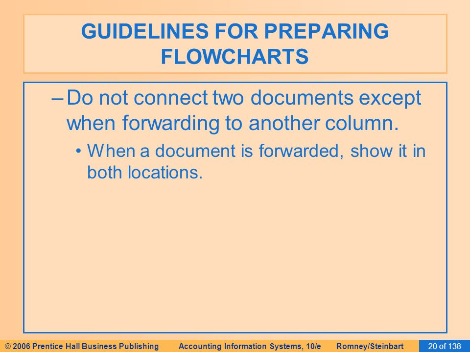 © 2006 Prentice Hall Business Publishing Accounting Information Systems, 10/e Romney/Steinbart20 of 138 GUIDELINES FOR PREPARING FLOWCHARTS –Do not connect two documents except when forwarding to another column.