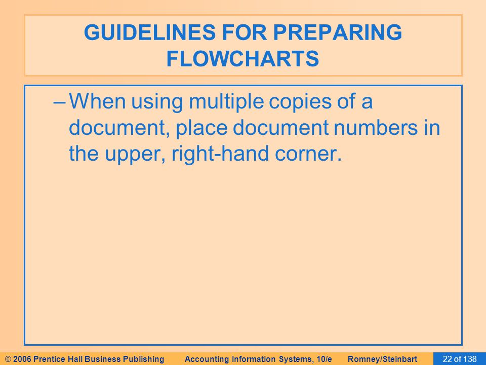 © 2006 Prentice Hall Business Publishing Accounting Information Systems, 10/e Romney/Steinbart22 of 138 GUIDELINES FOR PREPARING FLOWCHARTS –When using multiple copies of a document, place document numbers in the upper, right-hand corner.