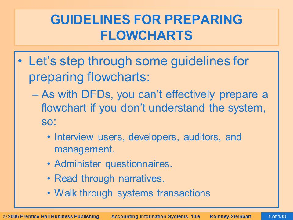 © 2006 Prentice Hall Business Publishing Accounting Information Systems, 10/e Romney/Steinbart4 of 138 GUIDELINES FOR PREPARING FLOWCHARTS Let's step