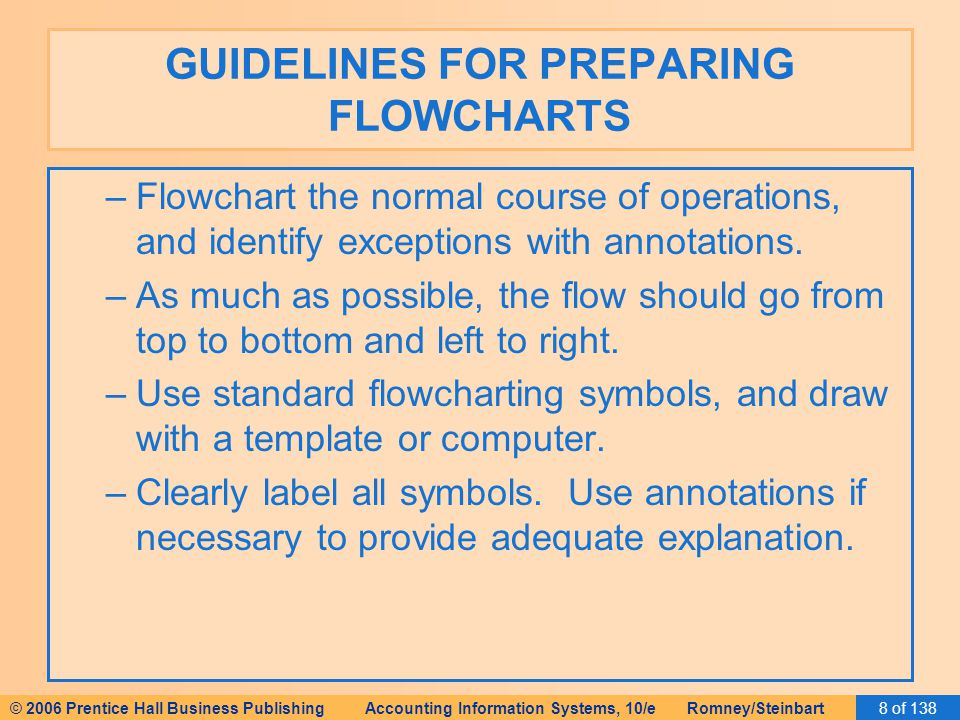 © 2006 Prentice Hall Business Publishing Accounting Information Systems, 10/e Romney/Steinbart8 of 138 GUIDELINES FOR PREPARING FLOWCHARTS –Flowchart