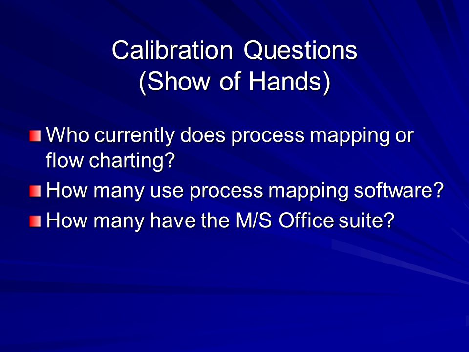 Calibration Questions (Show of Hands) Who currently does process mapping or flow charting.