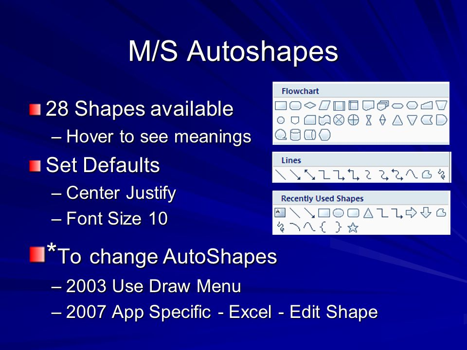 M/S Autoshapes 28 Shapes available –Hover to see meanings Set Defaults –Center Justify –Font Size 10 * To change AutoShapes –2003 Use Draw Menu –2007 App Specific - Excel - Edit Shape