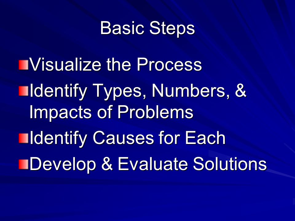 Basic Steps Visualize the Process Identify Types, Numbers, & Impacts of Problems Identify Causes for Each Develop & Evaluate Solutions