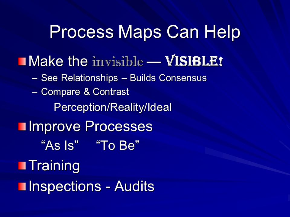Process Maps Can Help Make the invisible — visible.