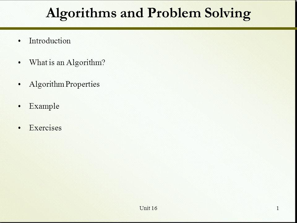 Unit 162 What is an Algorithm.