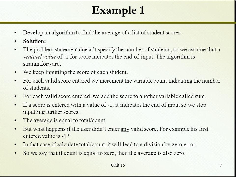 Unit 168 The Pseudocode version The algorithm is straightforward: 1.