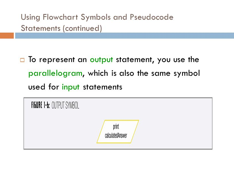 Using Flowchart Symbols and Pseudocode Statements (continued)  To represent an output statement, you use the parallelogram, which is also the same sy