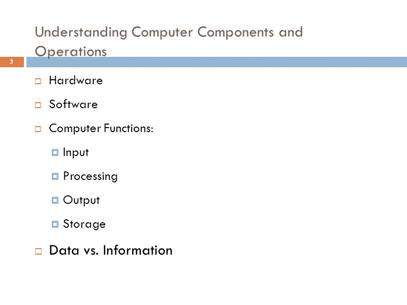 Understanding Computer Components and Operations 3  Hardware  Software  Computer Functions:  Input  Processing  Output  Storage  Data vs. Info