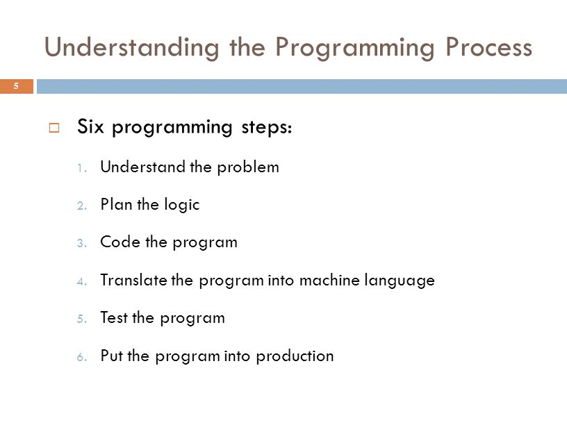 Understanding the Programming Process 5  Six programming steps: 1. Understand the problem 2. Plan the logic 3. Code the program 4. Translate the prog