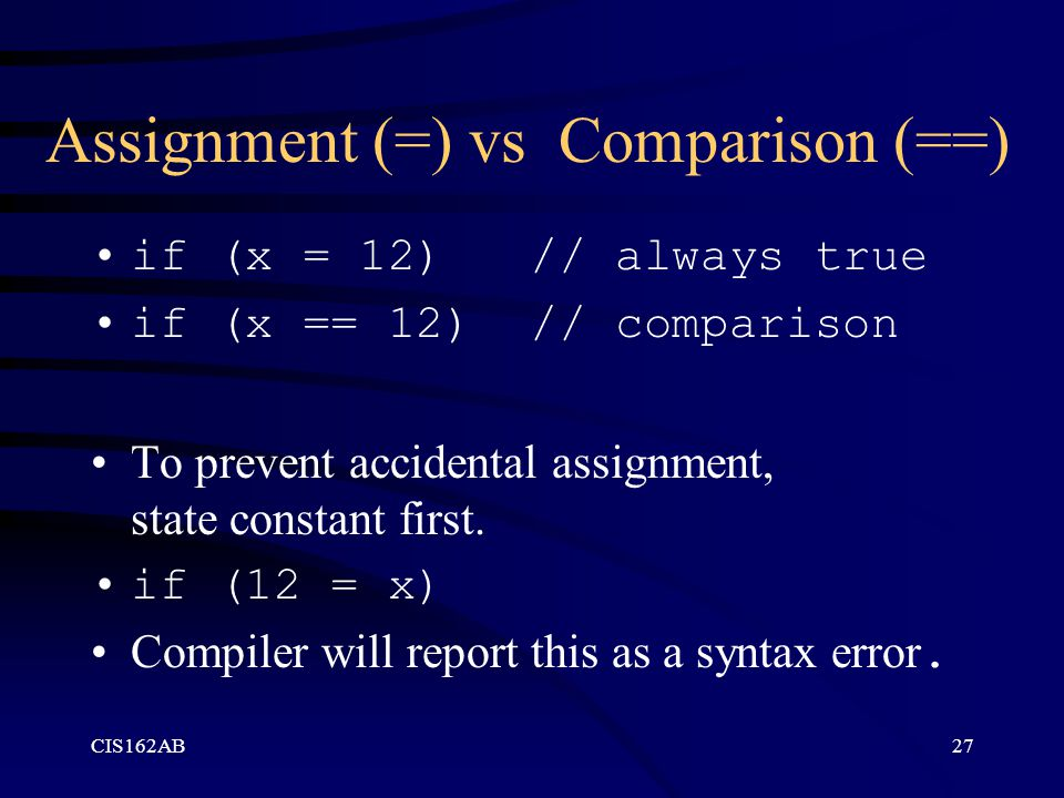 CIS162AB27 Assignment (=) vs Comparison (==) if (x = 12) // always true if (x == 12) // comparison To prevent accidental assignment, state constant first.