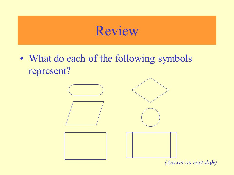 17 Review What do each of the following symbols represent? (Answer on next slide)