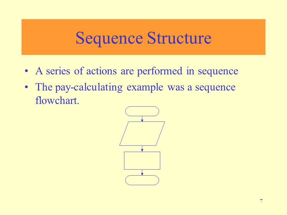 7 Sequence Structure A series of actions are performed in sequence The pay-calculating example was a sequence flowchart.