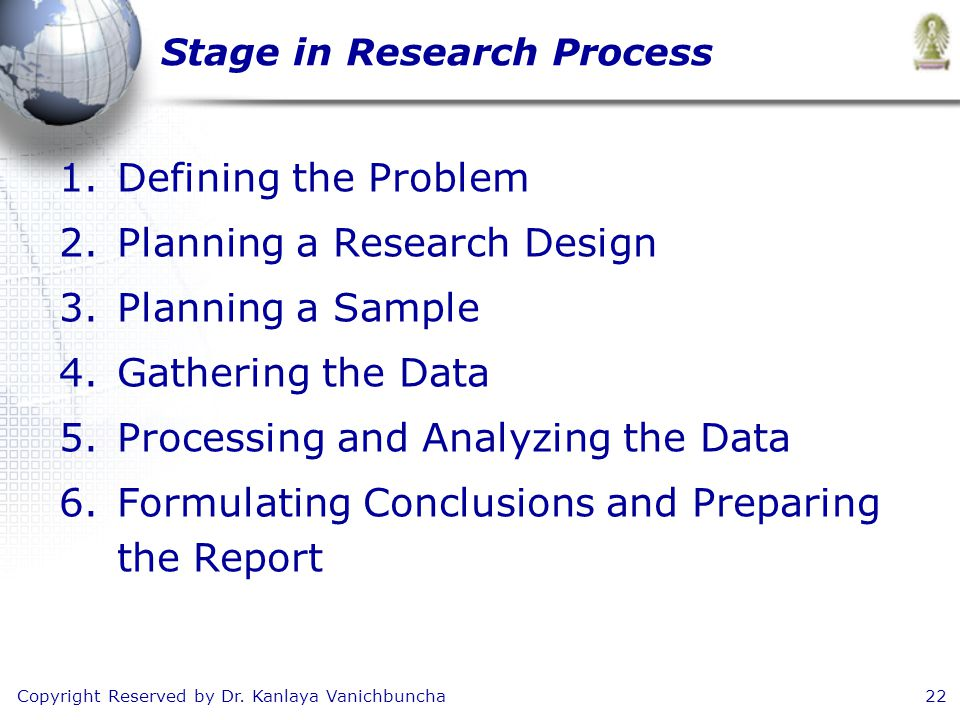 Copyright Reserved by Dr. Kanlaya Vanichbuncha22 Stage in Research Process 1.Defining the Problem 2.Planning a Research Design 3.Planning a Sample 4.G