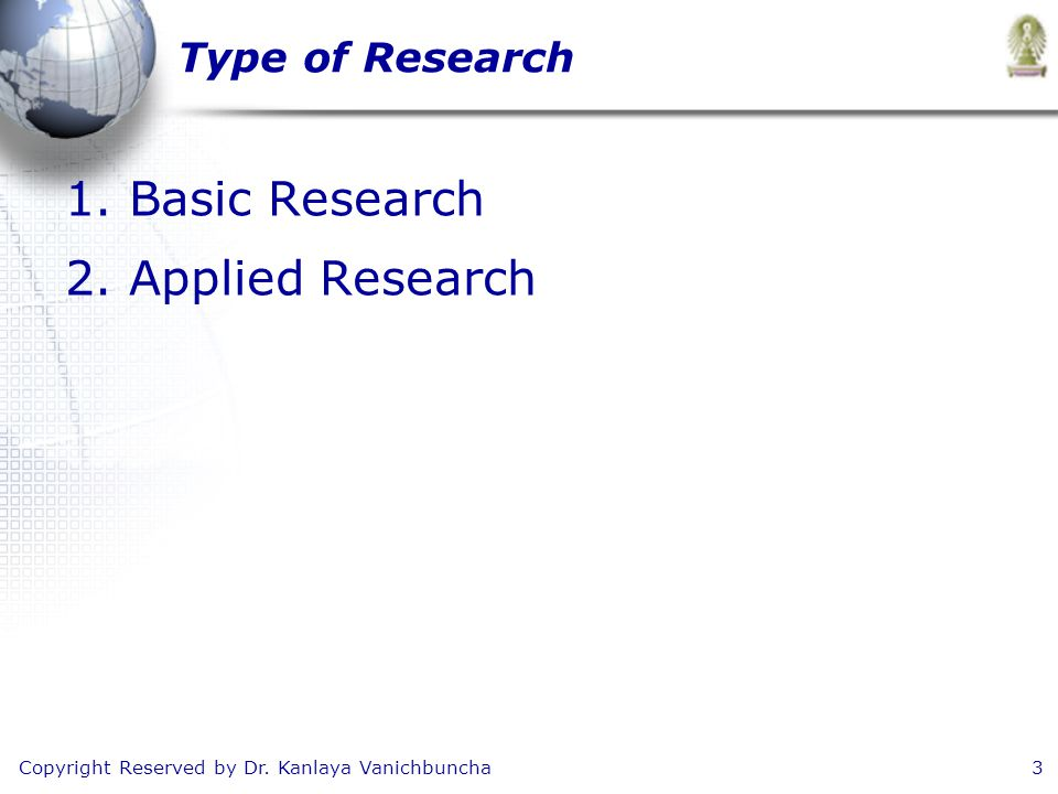 Copyright Reserved by Dr. Kanlaya Vanichbuncha3 Type of Research 1.Basic Research 2.Applied Research