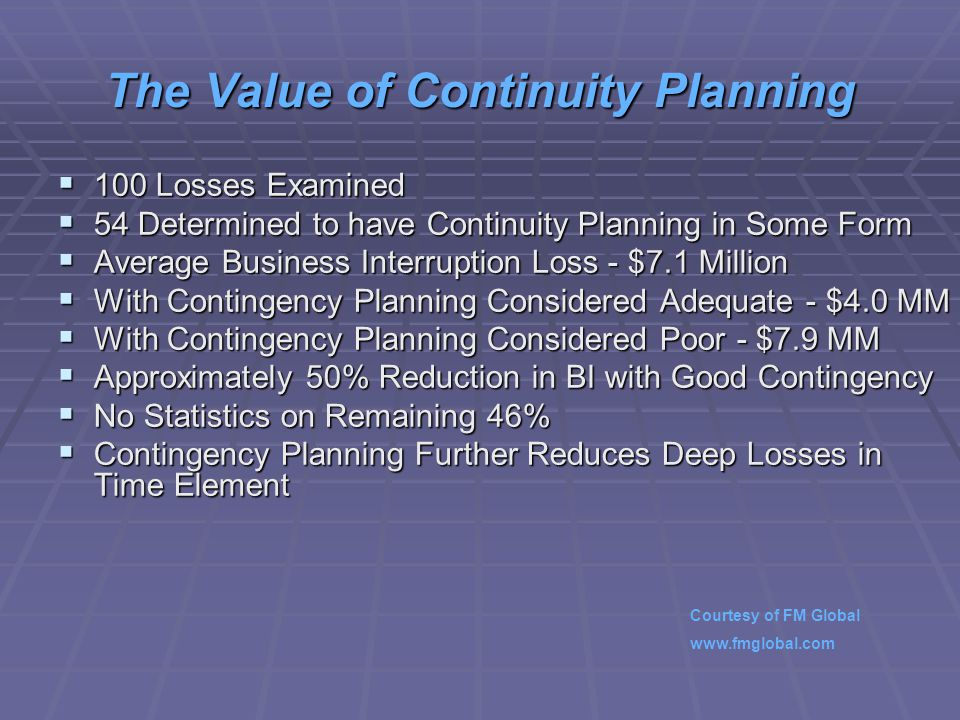 The Value of Continuity Planning  100 Losses Examined  54 Determined to have Continuity Planning in Some Form  Average Business Interruption Loss - $7.1 Million  With Contingency Planning Considered Adequate - $4.0 MM  With Contingency Planning Considered Poor - $7.9 MM  Approximately 50% Reduction in BI with Good Contingency  No Statistics on Remaining 46%  Contingency Planning Further Reduces Deep Losses in Time Element Courtesy of FM Global www.fmglobal.com