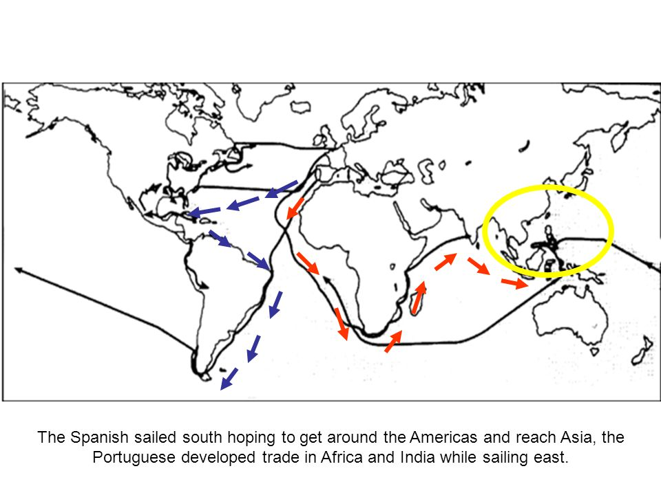 The Spanish sailed south hoping to get around the Americas and reach Asia, the Portuguese developed trade in Africa and India while sailing east.