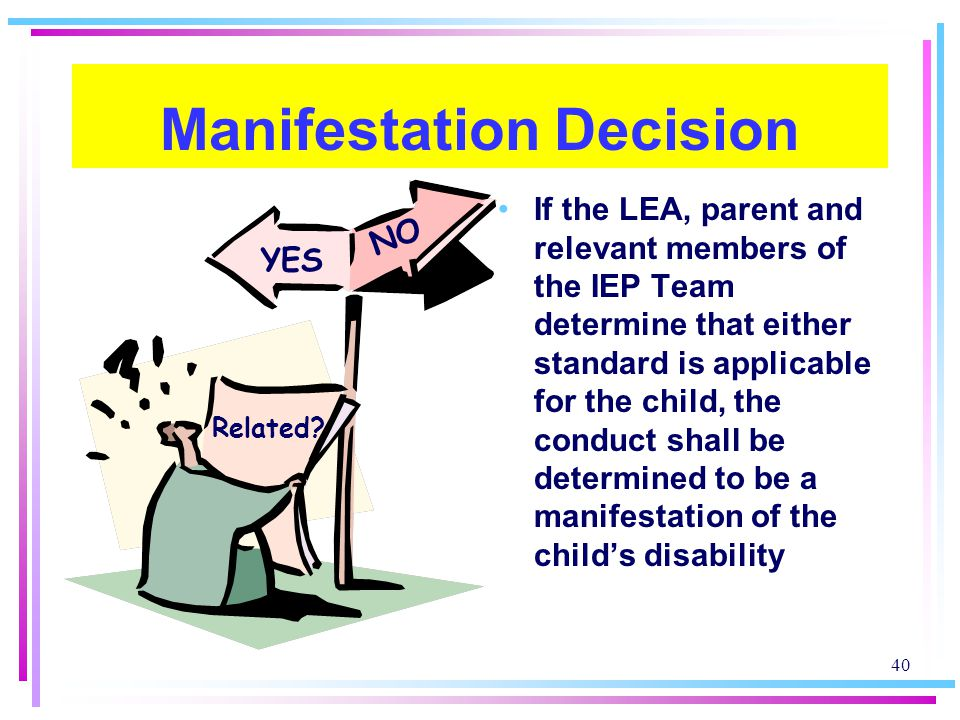 40 Manifestation Decision If the LEA, parent and relevant members of the IEP Team determine that either standard is applicable for the child, the conduct shall be determined to be a manifestation of the child's disability YES Related.