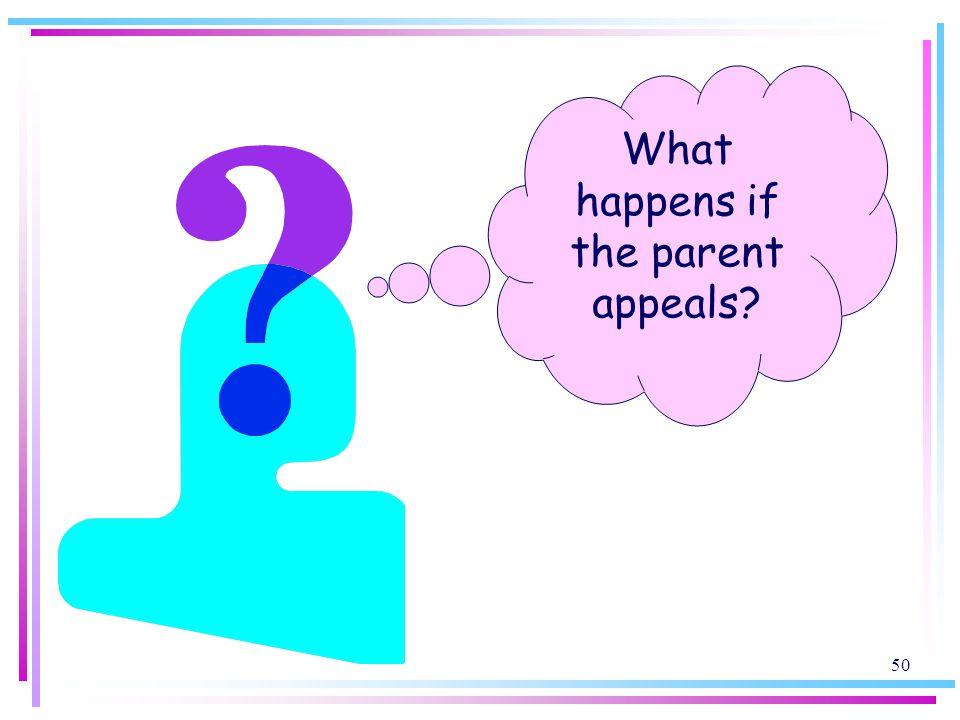 50 What happens if the parent appeals?