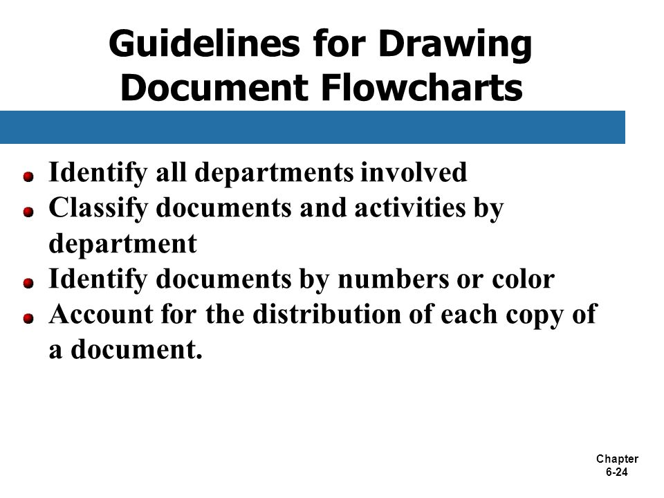 Chapter 6-24 Guidelines for Drawing Document Flowcharts Identify all departments involved Classify documents and activities by department Identify doc