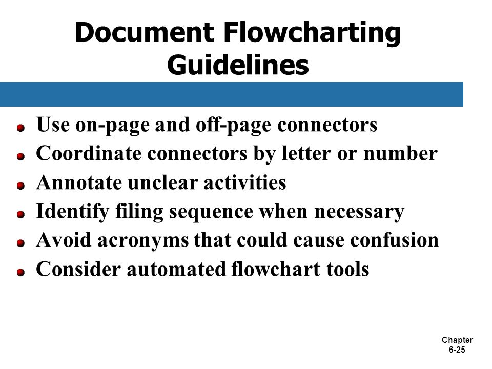 Chapter 6-25 Use on-page and off-page connectors Coordinate connectors by letter or number Annotate unclear activities Identify filing sequence when n