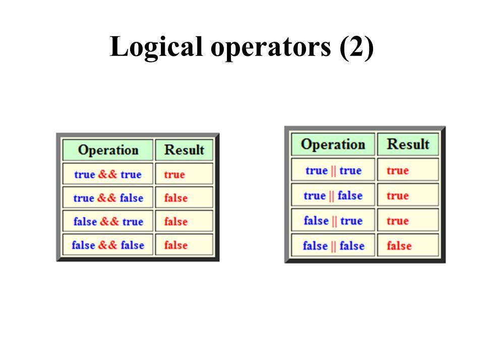 Logical operators (2)