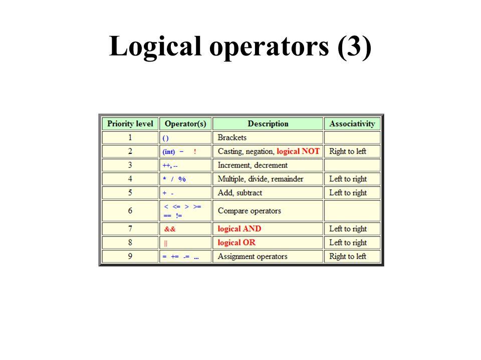 Logical operators (3)