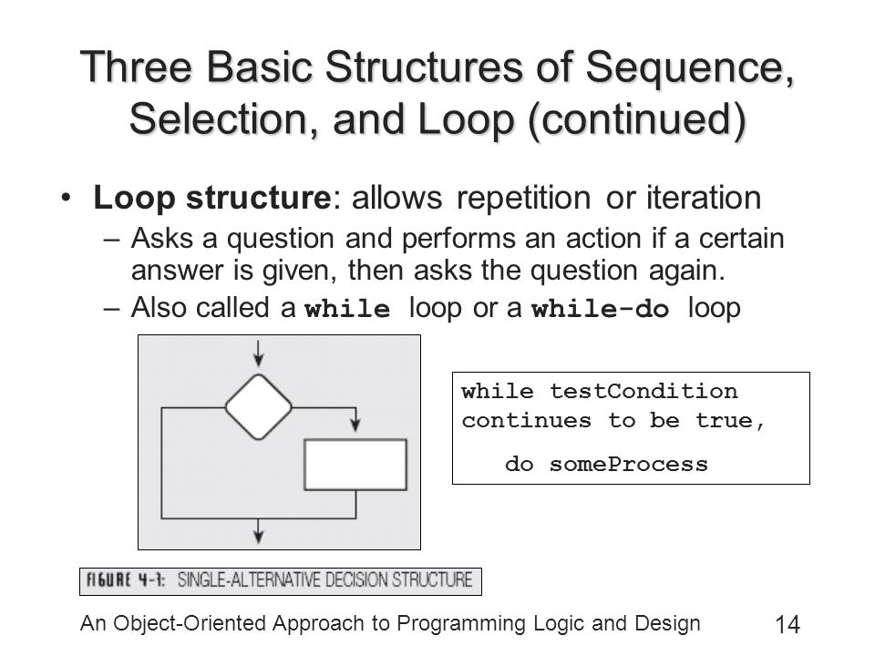 An Object-Oriented Approach to Programming Logic and Design 14 Three Basic Structures of Sequence, Selection, and Loop (continued) Loop structure: allows repetition or iteration –Asks a question and performs an action if a certain answer is given, then asks the question again.