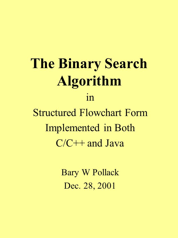 The Binary Search Algorithm in Structured Flowchart Form Implemented in Both C/C++ and Java Bary W Pollack Dec.