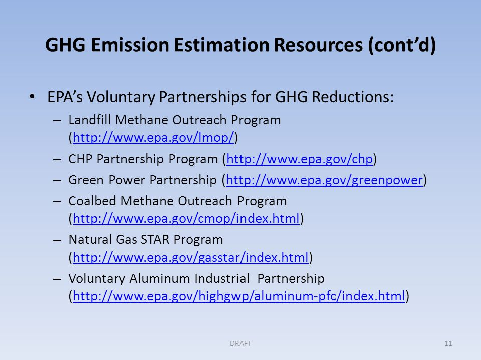 GHG Emission Estimation Resources (cont'd) EPA's Voluntary Partnerships for GHG Reductions: – Landfill Methane Outreach Program (http://www.epa.gov/lm