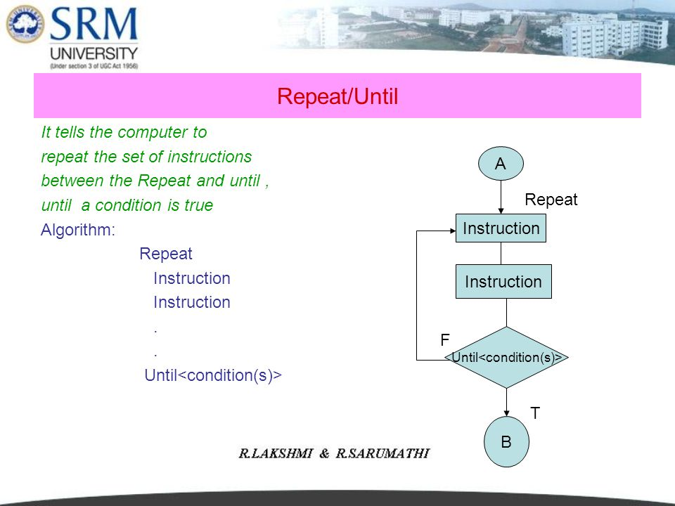 Repeat/Until It tells the computer to repeat the set of instructions between the Repeat and until, until a condition is true Algorithm: Repeat Instruc