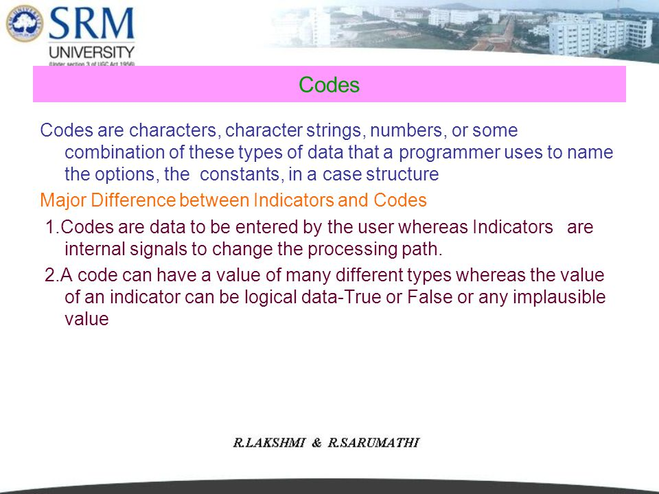 Codes Codes are characters, character strings, numbers, or some combination of these types of data that a programmer uses to name the options, the con