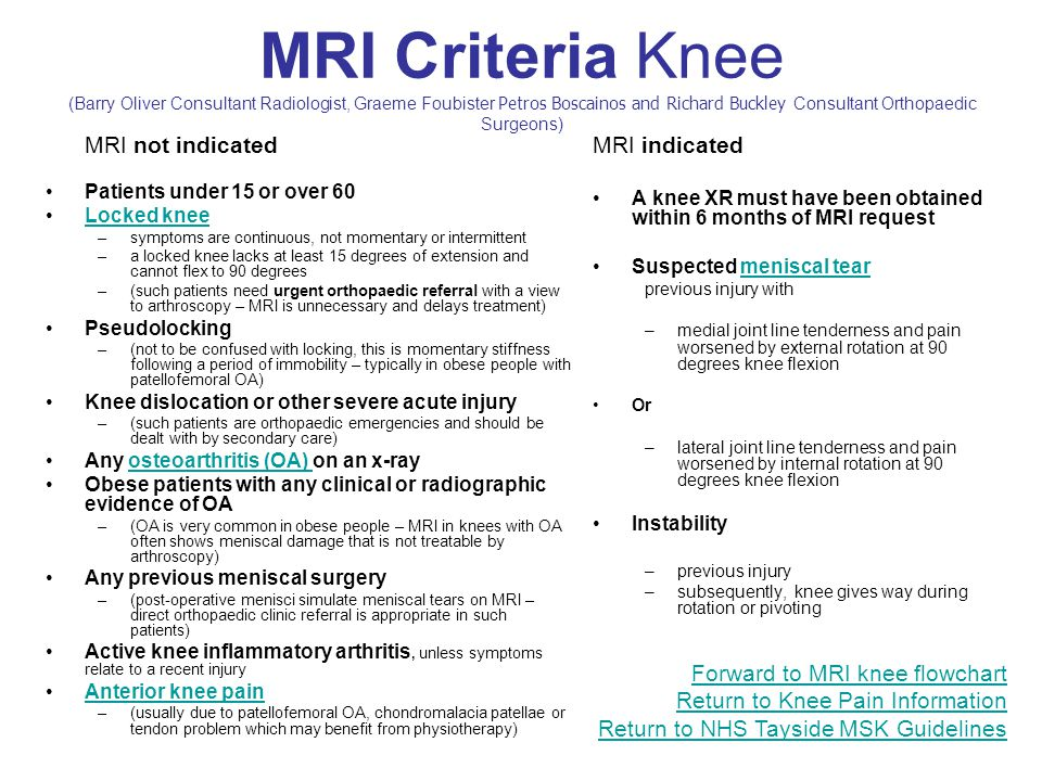 MRI Criteria Knee (Barry Oliver Consultant Radiologist, Graeme Foubister Petros Boscainos and Richard Buckley Consultant Orthopaedic Surgeons) MRI not