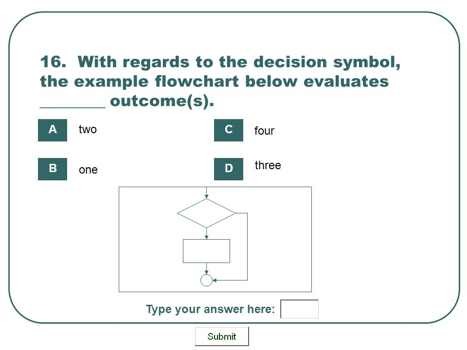 16. With regards to the decision symbol, the example flowchart below evaluates ________ outcome(s). Type your answer here: two one four three A B C D