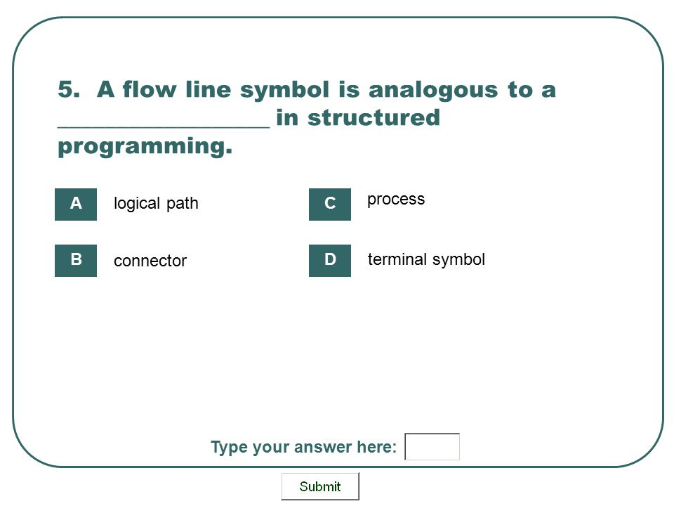5. A flow line symbol is analogous to a __________________ in structured programming. logical path connector process terminal symbol A B C D Type your