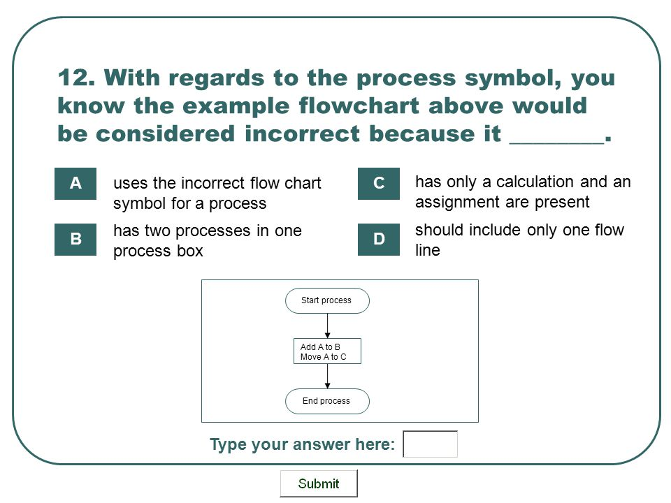 12. With regards to the process symbol, you know the example flowchart above would be considered incorrect because it ________. End process Start proc
