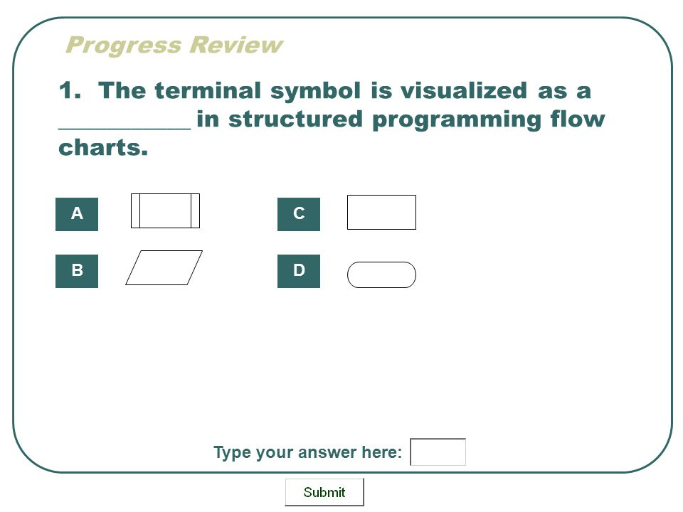 1. The terminal symbol is visualized as a ___________ in structured programming flow charts. A B C D Type your answer here: Progress Review